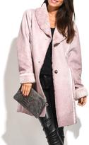 Everest Pink Faux Fur-Trim Coat