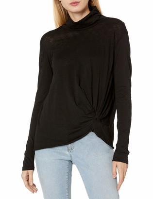 Stateside Women's Slub Jersey Long Sleeve Funnel Neck Top