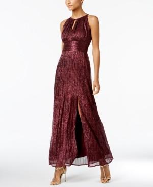 R & M Richards Petite Metallic Knit Gown