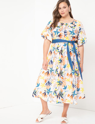 ELOQUII Puff Sleeve Dress With Back Cut Out