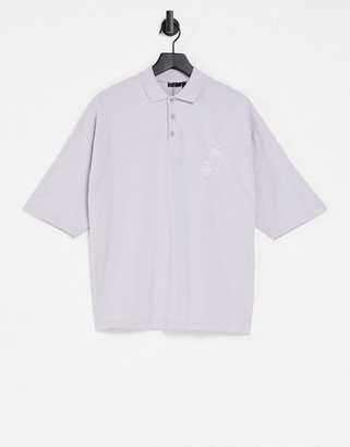 ASOS DESIGN oversized polo shirt with chest face line drawing in lilac