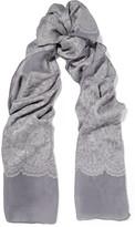 Valentino Lace-appliquéd cashmere and silk-blend scarf