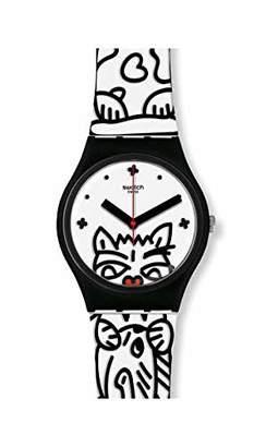 Swatch Womens Analogue Swiss Quartz Watch with Silicone Strap GB322