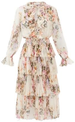 Zimmermann Brighton Tiered Floral-print Silk-georgette Dress - White Print