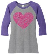 Purple & Gray Layered Heart Raglan Tee