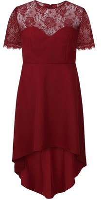 Dorothy Perkins Womens Chi Chi London Curve Burgundy Dip Hem Skater Dress