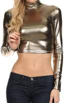 Sakkas 141786 Metallic Liquid Mock Neck Turtleneck Long Sleeve Crop Top - Made in USA - M