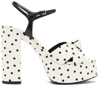 Saint Laurent Bianca Knotted Polka-dot Platform Sandals - Cream Multi