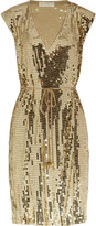 Sequined jersey wrap dress