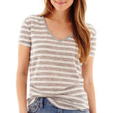 A.N.A a.n.a Short-Sleeve Striped Textured V-Neck T-Shirt