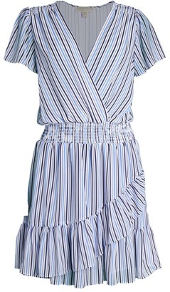 MICHAEL Michael Kors Striped Surplice Ruffle Dress