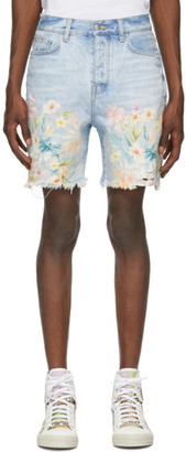 Amiri Blue Denim Floral Leaf Shorts