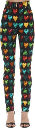 Versace Printed & Embellished Cotton Denim Jeans