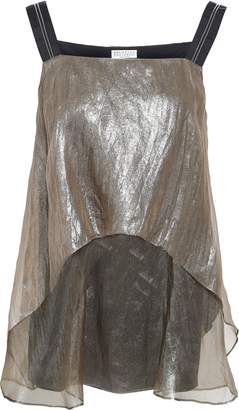 Brunello Cucinelli Bead-embellished Layered Metallic Silk-organza Top