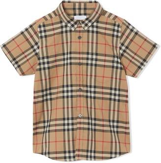 Burberry TEEN check print short-sleeved shirt