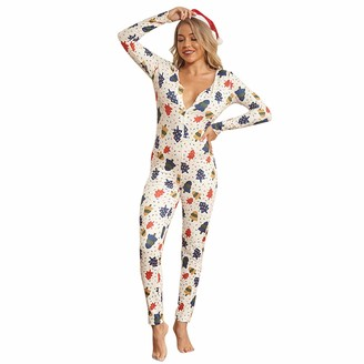Xiaoqiao Womens One Piece Pajama Union Suit Buttons V Neck Underwear Set Sleepwear Pajama Jumpsuit Union (White M)