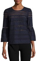 BA&SH Gianna Lace Bell-Sleeve Top, Marine