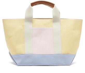 Rue De Verneuil - Tool Striped Canvas Tote Bag - Womens - Yellow Multi