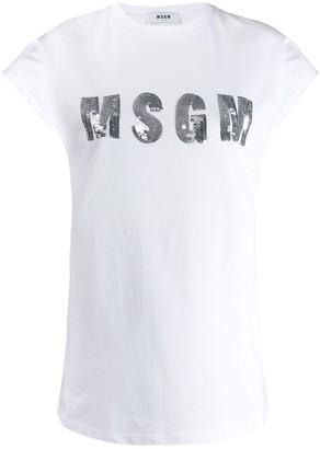 MSGM sequin logo T-shirt