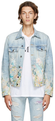 Amiri Blue Denim Floral Leaf Trucker Jacket