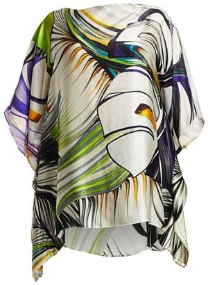 Marina Rinaldi, Plus Size Elegante Feltro Printed Silk Satin Poncho