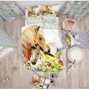 Design Art Designart 'Horse And Foal With Meadow' Modern Kids Duvet Cover Set - Queen Bedding