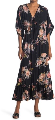 Nostalgia Apparel Floral V-Neck Wide Sleeve Maxi Dress