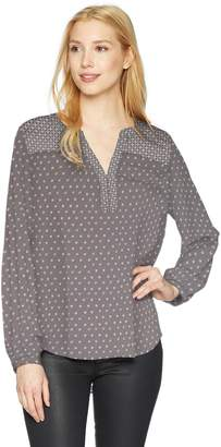 NYDJ Women's Print Mix Peasant Top