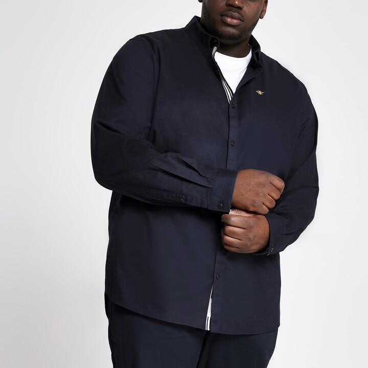 River Island Mens Big and Tall Navy Oxford shirt