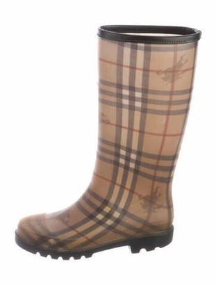 Burberry Nova Check Pattern Rubber Rain Boots Black