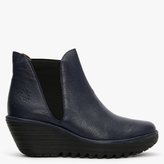Fly London Woss Ocean Leather Wedge Ankle Boots