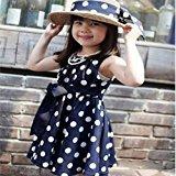 Hot Baby Dress! AMA(TM) Toddler Kids Girls Sleeveless Polka Dot Bowknot Sundress Summer Princess Party Dress (3-4Y, Blue)