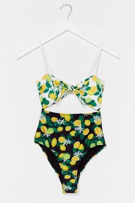 Nasty Gal Womens We Mean Citrus Lemon Cut-Out Swimsuit - Black