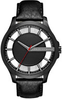 Armani Exchange A|X Men's Black Leather Strap Watch 46mm AX2180