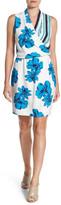 Halogen Floral Stripe Faux Wrap Dress
