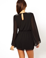 Little Mistress Embellished Shoulder Playsuit