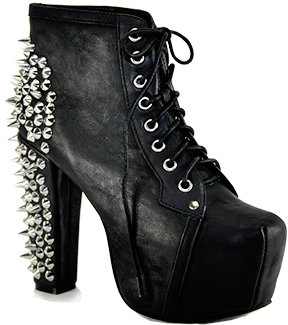 Jeffrey Campbell Spike - Black Leather Spiked Platform Bootie