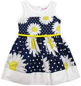Nannette Girls 4-6x Daisy & Polka-Dot Printed Poplin Dress