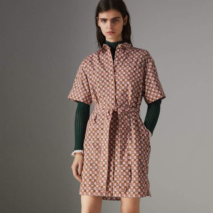 Burberry Tiled Archive Print Cotton Shirt Dress