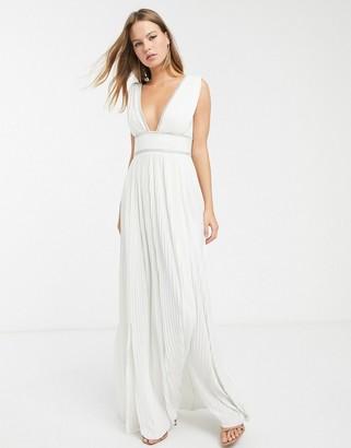 ASOS DESIGN premium pleat maxi dress with diamante trim in ivory