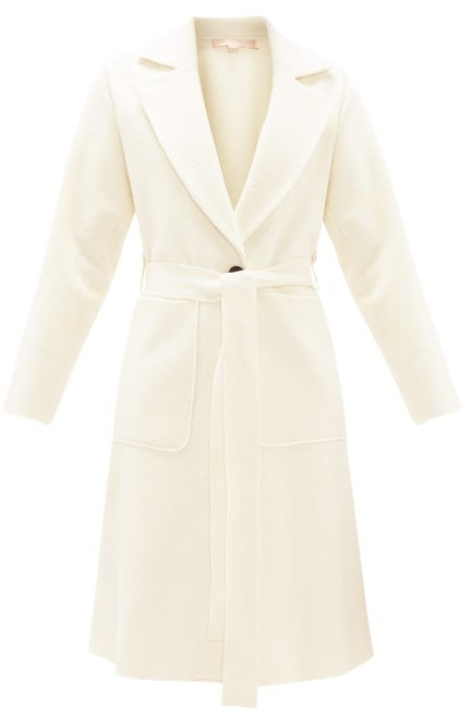 Brock Collection Belted Single-breasted Boucle-wool Coat - Ivory
