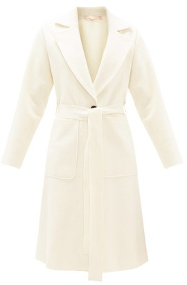 Brock Collection Belted Single-breasted Boucle-wool Coat - Womens - Ivory