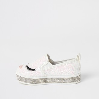 River Island Mini girls White glitter face embellish shoes