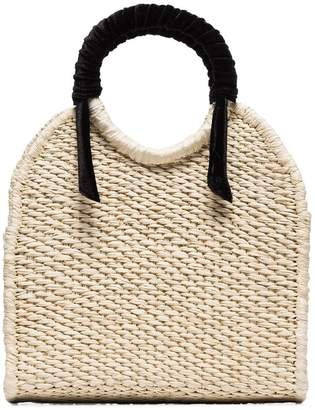Sensi Studio mini straw top-handle bag