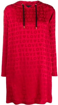 Love Moschino Logo Jacquard Hoodie Dress