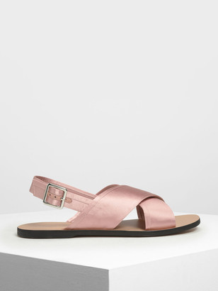 Charles & Keith Satin Criss Cross Sandals