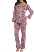 Miss Elaine Floral Tile Brushed-Back Satin Pajamas
