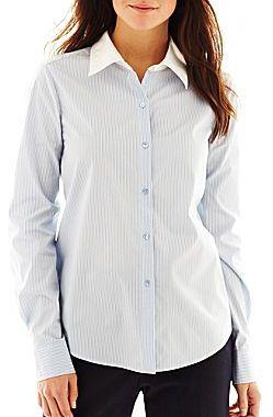 Liz Claiborne Striped Button-Front Shirt