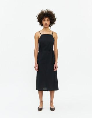 Base Range Women's Yumi Linen Apron Dress in Black, Size Medium