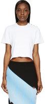 Proenza Schouler White Knit Cropped & Buttoned T-Shirt